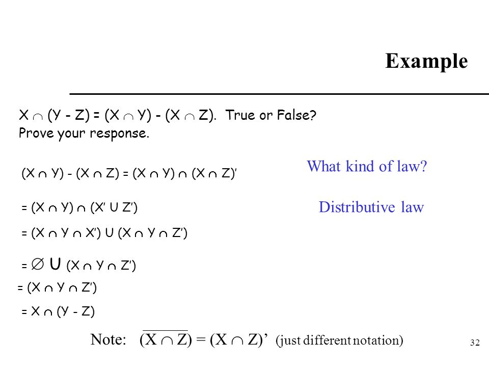 32 Example X  (Y - Z) = (X  Y) - (X  Z). True or False? Prove your response. = (X  Y)  (X' U Z') = (X  Y  X') U (X  Y  Z') =  U (X  Y  Z')