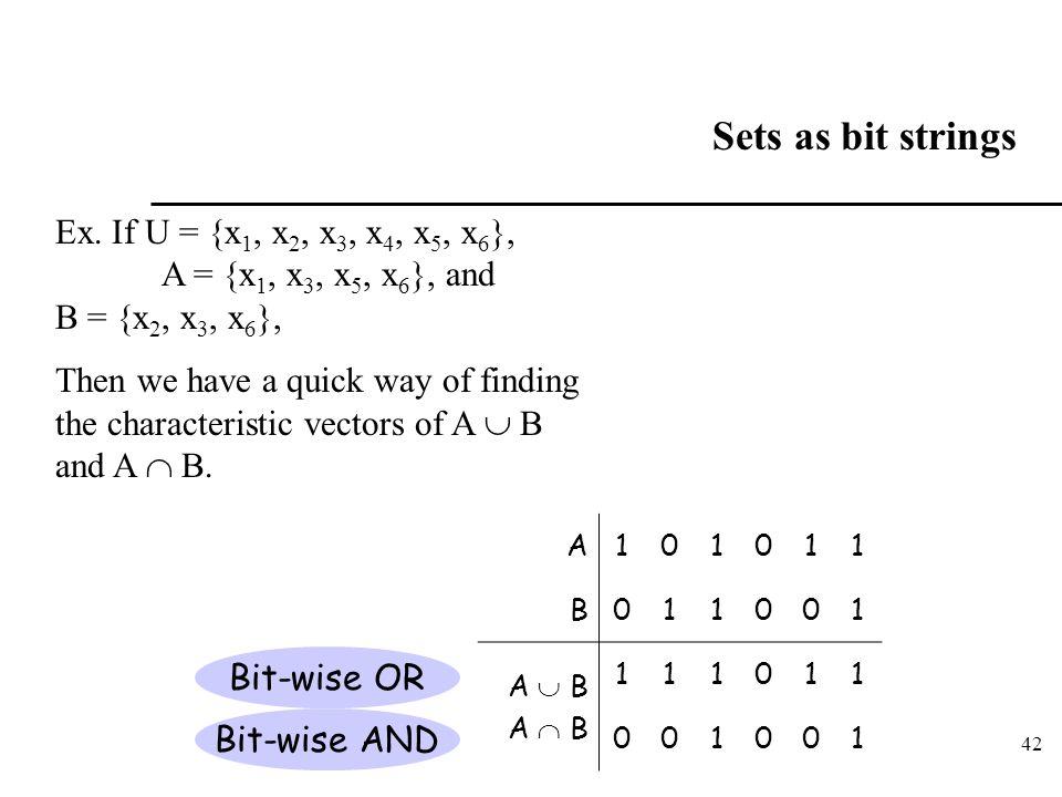 42 Sets as bit strings Ex. If U = {x 1, x 2, x 3, x 4, x 5, x 6 }, A = {x 1, x 3, x 5, x 6 }, and B = {x 2, x 3, x 6 }, Then we have a quick way of fi