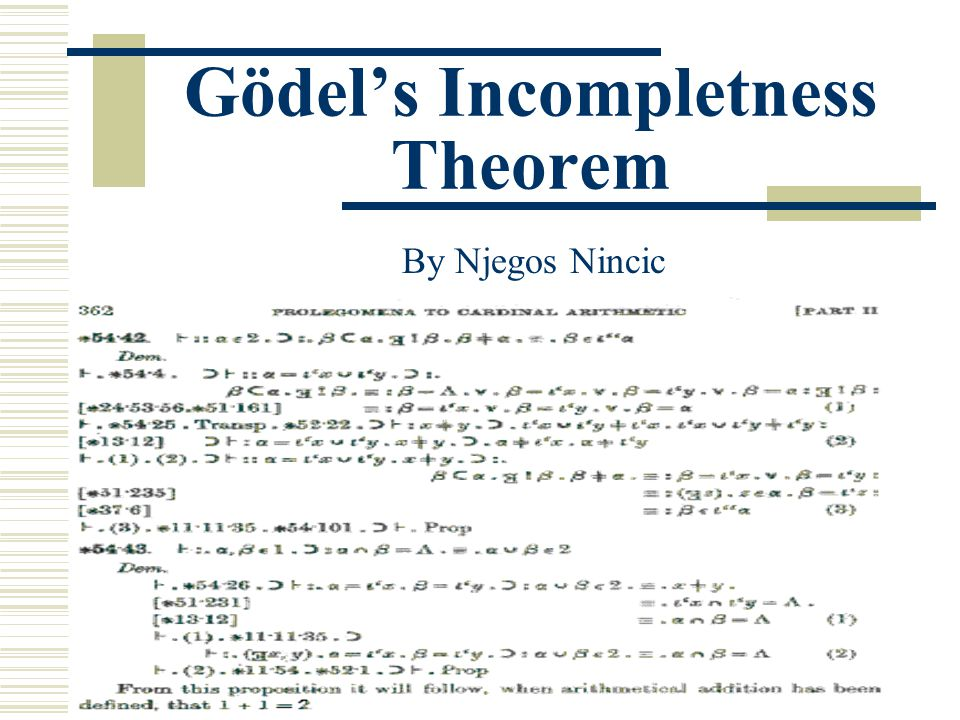 Overview  Set theory: Background, History Naïve Set Theory  Axiomatic Set Theory  Icompleteness Theorem Godel's Proof Simplified Explanation  Consequences  Summary