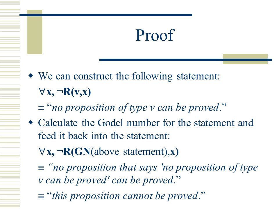 Proof  We can construct the following statement:  x, ¬R(v,x)  no proposition of type v can be proved.  Calculate the Godel number for the statement and feed it back into the statement:  x, ¬R(GN(above statement),x)  no proposition that says no proposition of type v can be proved can be proved.  this proposition cannot be proved.