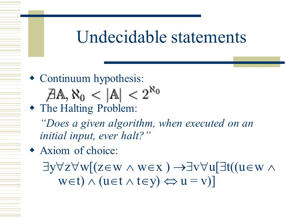 "Undecidable statements  Continuum hypothesis:  The Halting Problem: ""Does a given algorithm, when executed on an initial input, ever halt?""  Axiom"