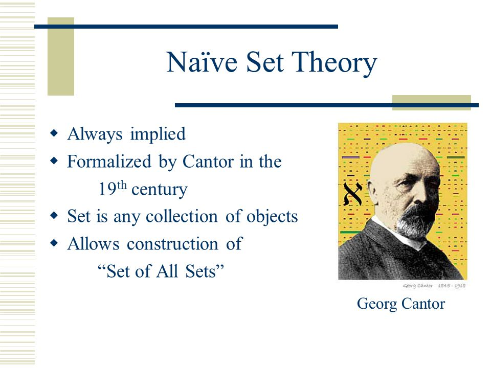 Naïve Set Theory  Always implied  Formalized by Cantor in the 19 th century  Set is any collection of objects  Allows construction of Set of All Sets Georg Cantor
