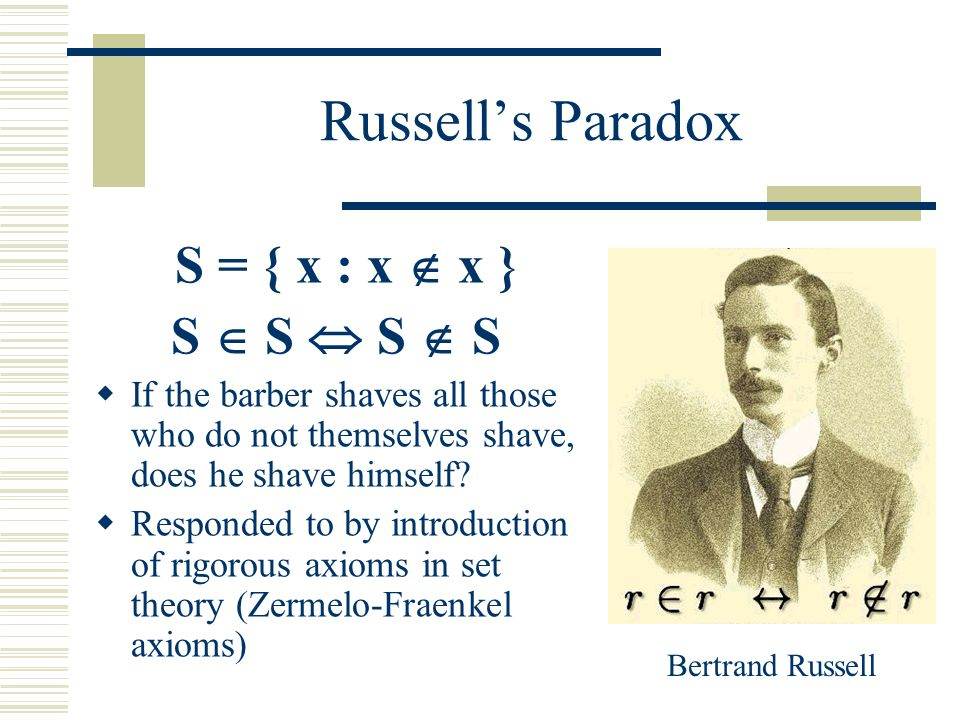 Russell's Paradox S = { x : x  x } S  S  S  S  If the barber shaves all those who do not themselves shave, does he shave himself?  Responded to