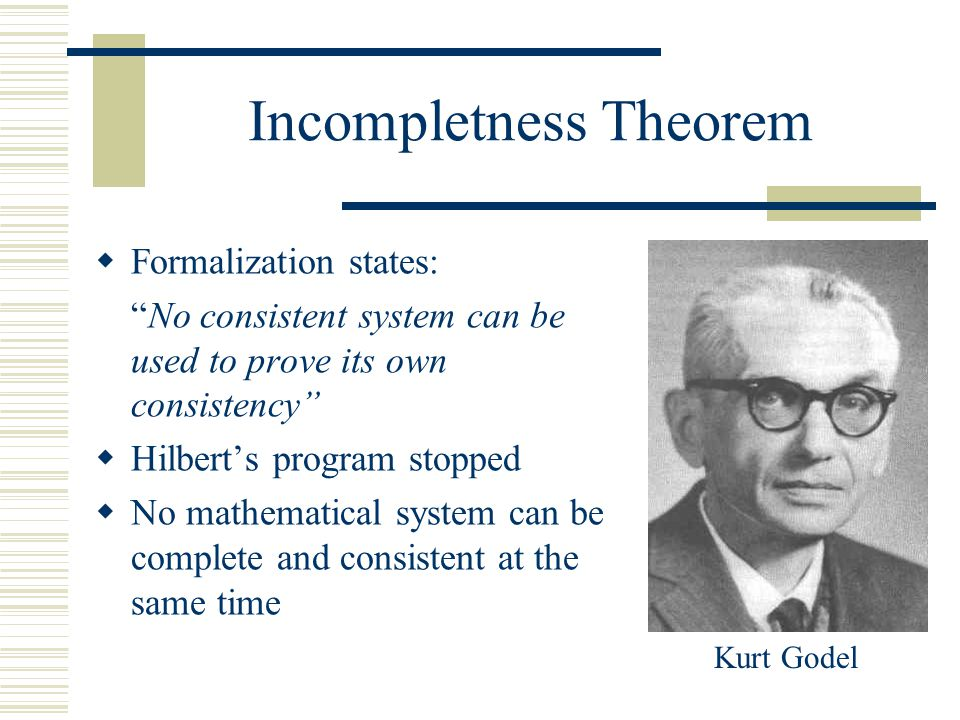 Incompletness Theorem  Formalization states: No consistent system can be used to prove its own consistency  Hilbert's program stopped  No mathematical system can be complete and consistent at the same time Kurt Godel