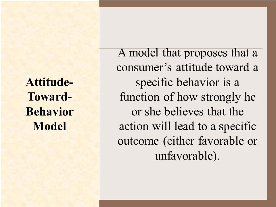 Attitude- Toward- Behavior Model A model that proposes that a consumer's attitude toward a specific behavior is a function of how strongly he or she b