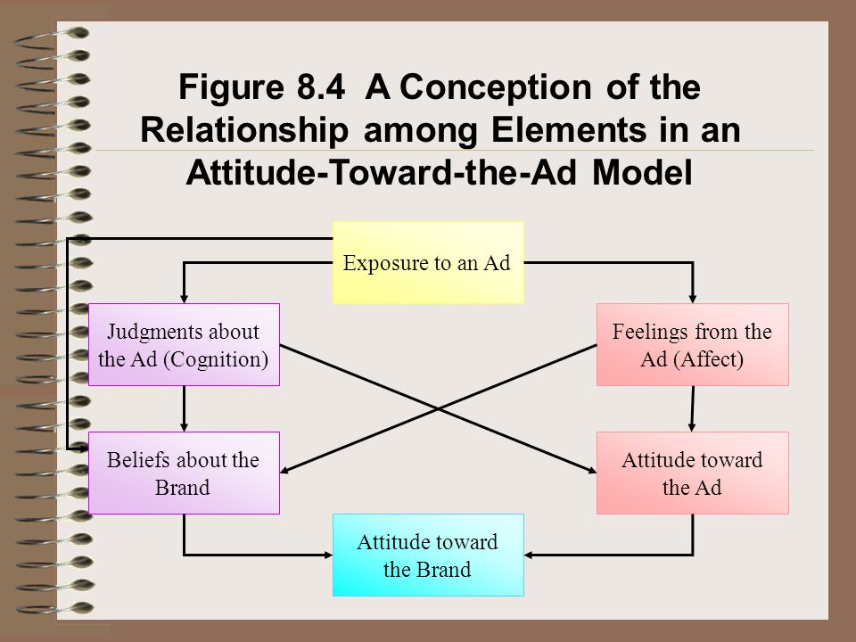 Figure 8.4 A Conception of the Relationship among Elements in an Attitude-Toward-the-Ad Model Exposure to an Ad Judgments about the Ad (Cognition) Bel