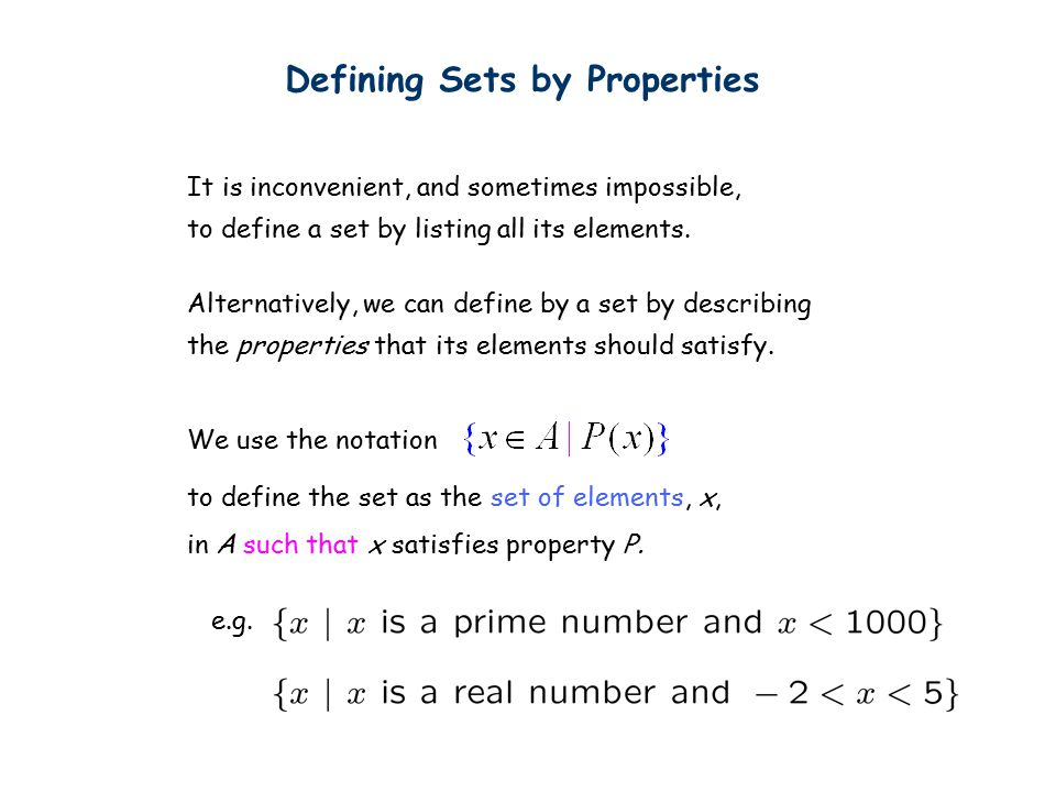 Set Identities De Morgan's Law:
