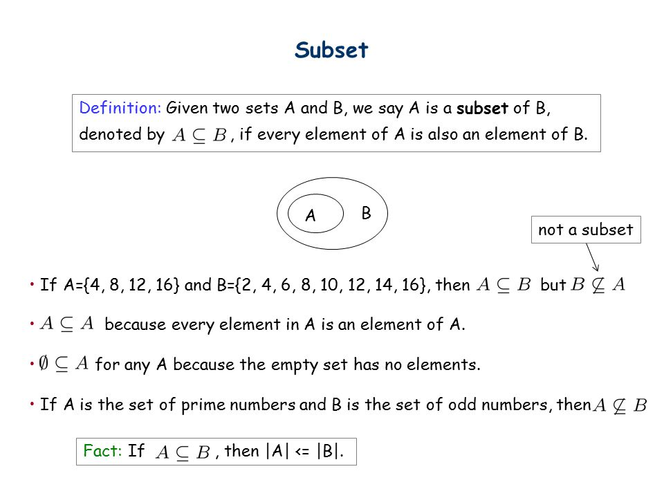Subset Definition: Given two sets A and B, we say A is a subset of B, denoted by, if every element of A is also an element of B.
