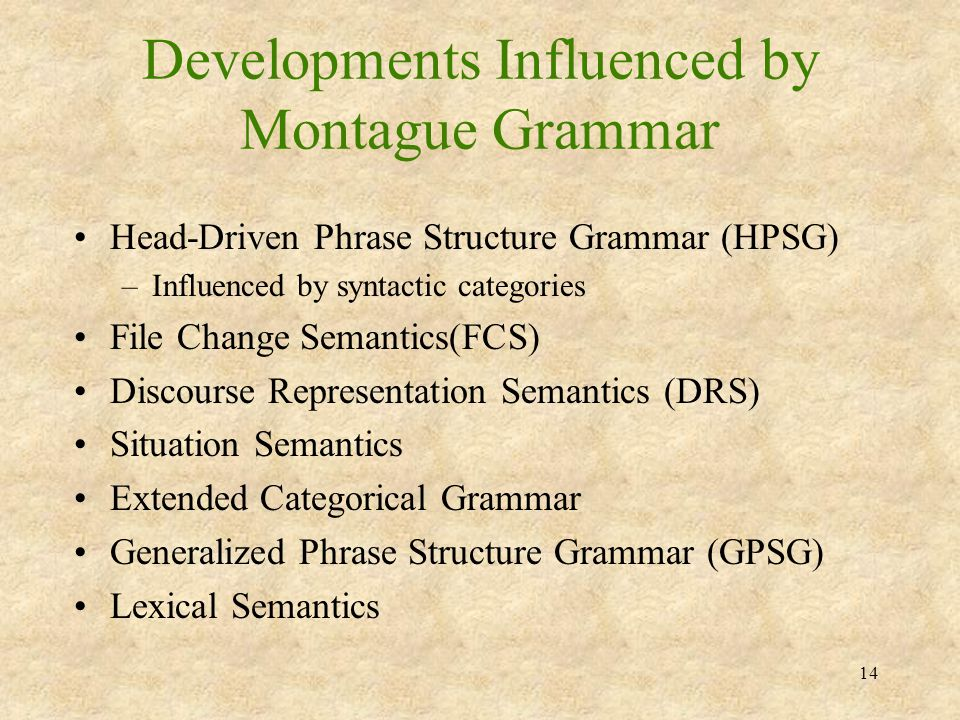 14 Developments Influenced by Montague Grammar Head-Driven Phrase Structure Grammar (HPSG) –Influenced by syntactic categories File Change Semantics(F