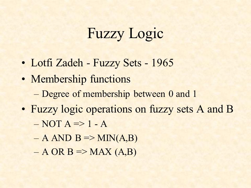 Fuzzy Logic Lotfi Zadeh - Fuzzy Sets - 1965 Membership functions –Degree of membership between 0 and 1 Fuzzy logic operations on fuzzy sets A and B –N