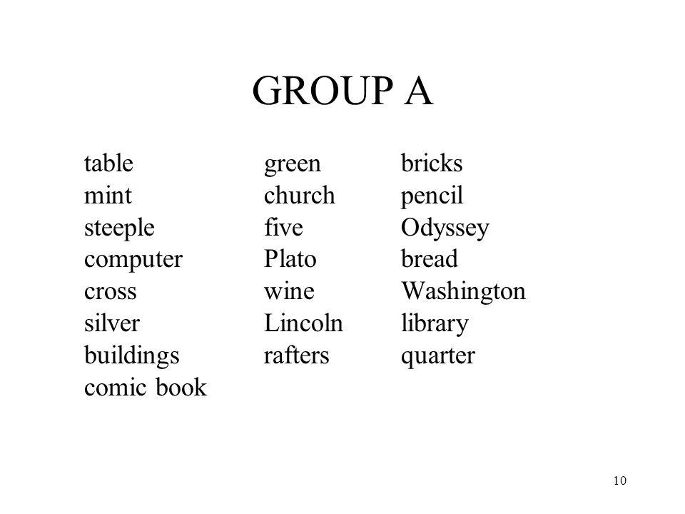 10 GROUP A table greenbricks mintchurchpencil steeplefiveOdyssey computerPlatobread crosswineWashington silverLincolnlibrary buildingsraftersquarter c
