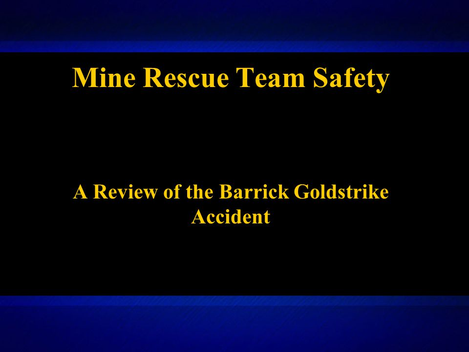 On the day of the accident, the Mine Safety and Health Administration (MSHA) was notified at 12:45 p.m., by a telephone call from Craig Ross to Tyrone Goodspeed, supervisory mine safety and health inspector.