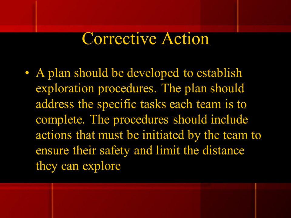 Corrective Action A plan should be developed to establish exploration procedures.