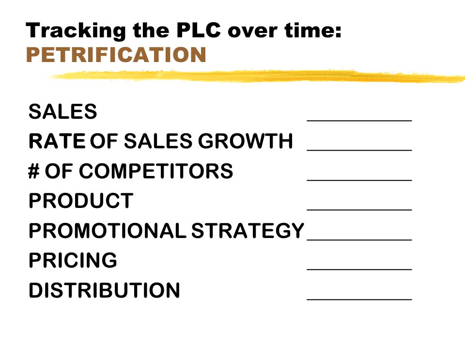 Tracking the PLC over time: PETRIFICATION SALES__________ RATE OF SALES GROWTH__________ # OF COMPETITORS__________ PRODUCT__________ PROMOTIONAL STRA