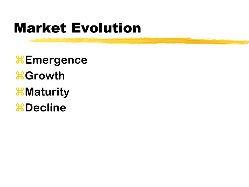 Market Evolution zEmergence zGrowth zMaturity zDecline