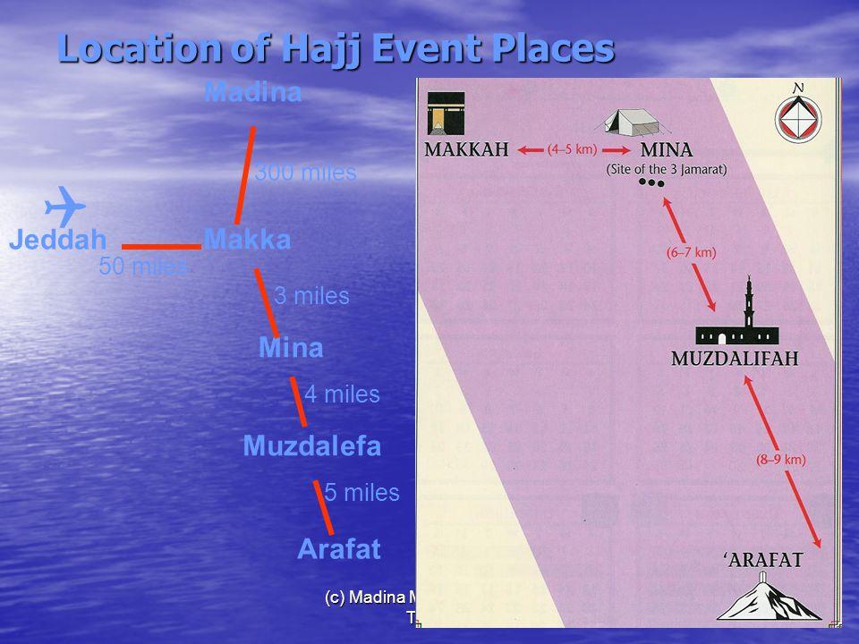 (c) Madina Masjid, Houston, Texas16 Location of Hajj Event Places Madina Makka Mina Arafat 50 miles 300 miles 3 miles Muzdalefa 5 miles 4 miles Jeddah 