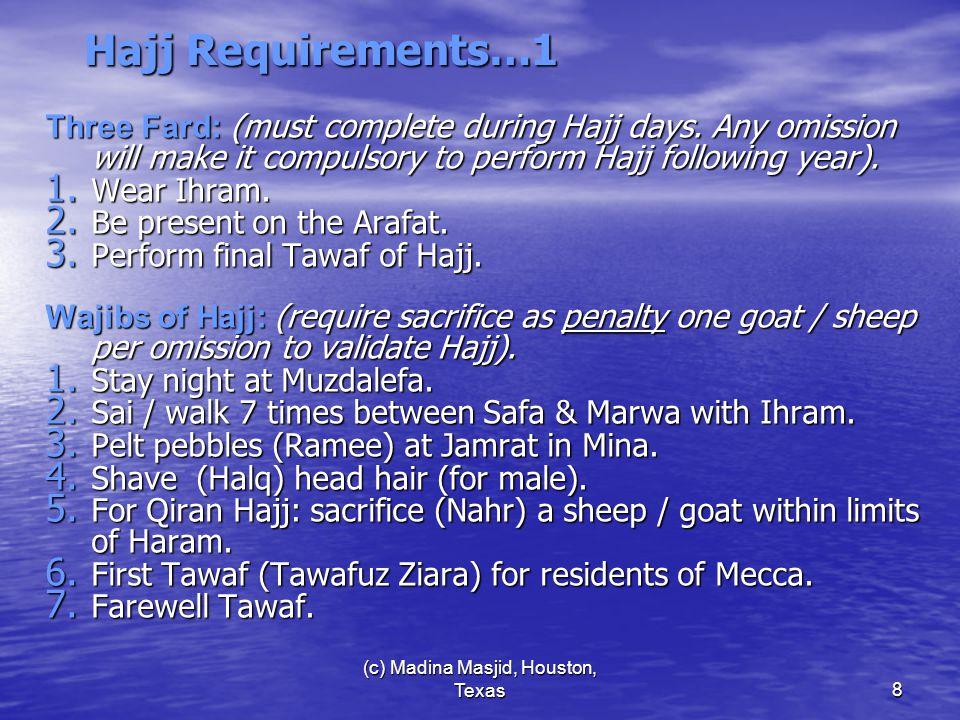 (c) Madina Masjid, Houston, Texas9 Three Types of Hajj