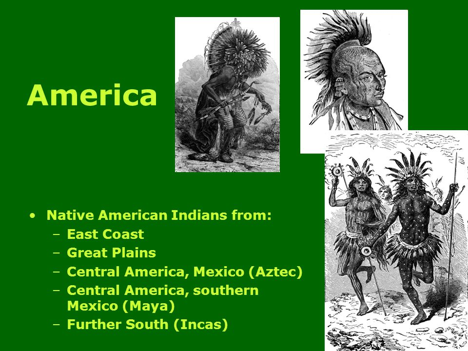 America Native American Indians from: –East Coast –Great Plains –Central America, Mexico (Aztec) –Central America, southern Mexico (Maya) –Further South (Incas)