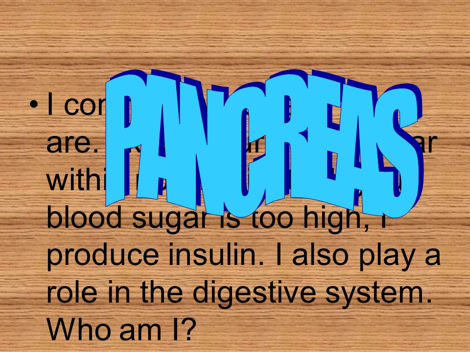 """I control how """"sweet"""" you are. I keep your blood sugar within normal limits. If your blood sugar is too high, I produce insulin. I also play a role in"""