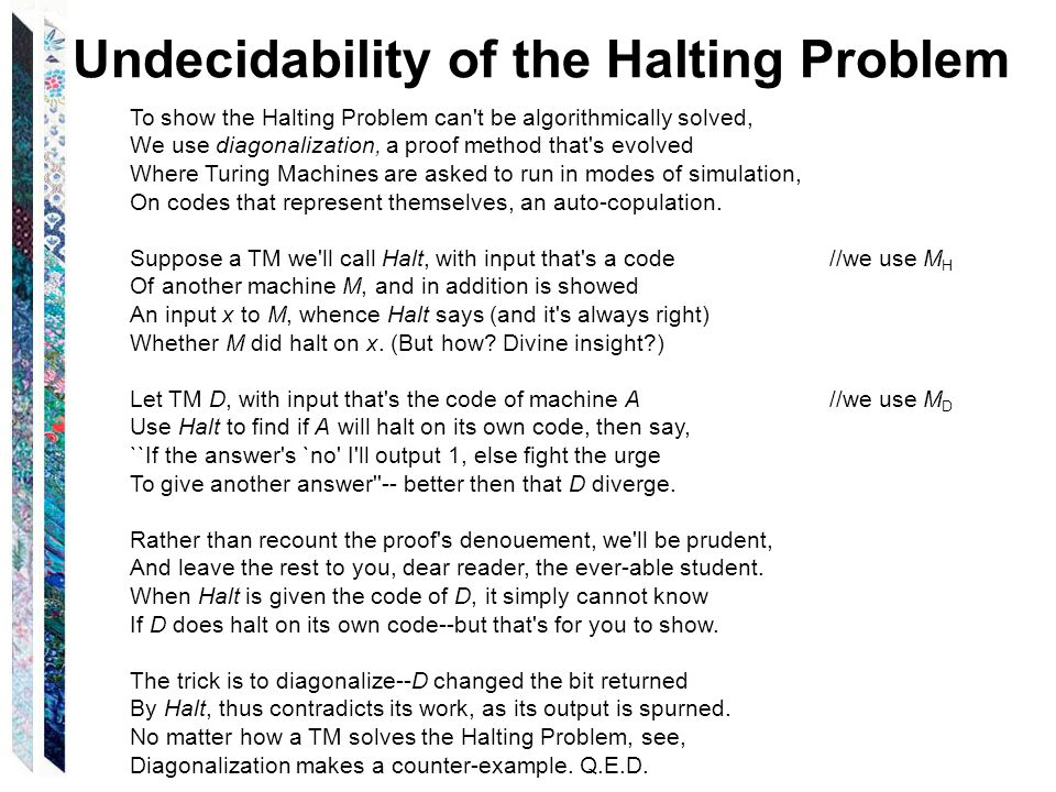 Undecidability of the Halting Problem To show the Halting Problem can t be algorithmically solved, We use diagonalization, a proof method that s evolved Where Turing Machines are asked to run in modes of simulation, On codes that represent themselves, an auto-copulation.