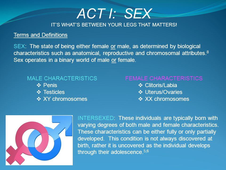 Terms and Definitions SEX: The state of being either female or male, as determined by biological characteristics such as anatomical, reproductive and