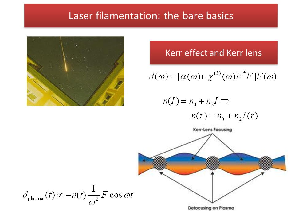 Laser filamentation: the bare basics Kerr effect and Kerr lens