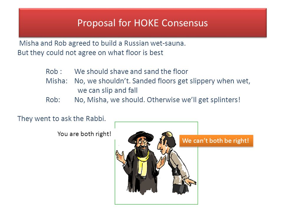 Proposal for HOKE Consensus Misha and Rob agreed to build a Russian wet-sauna. But they could not agree on what floor is best Rob : We should shave an