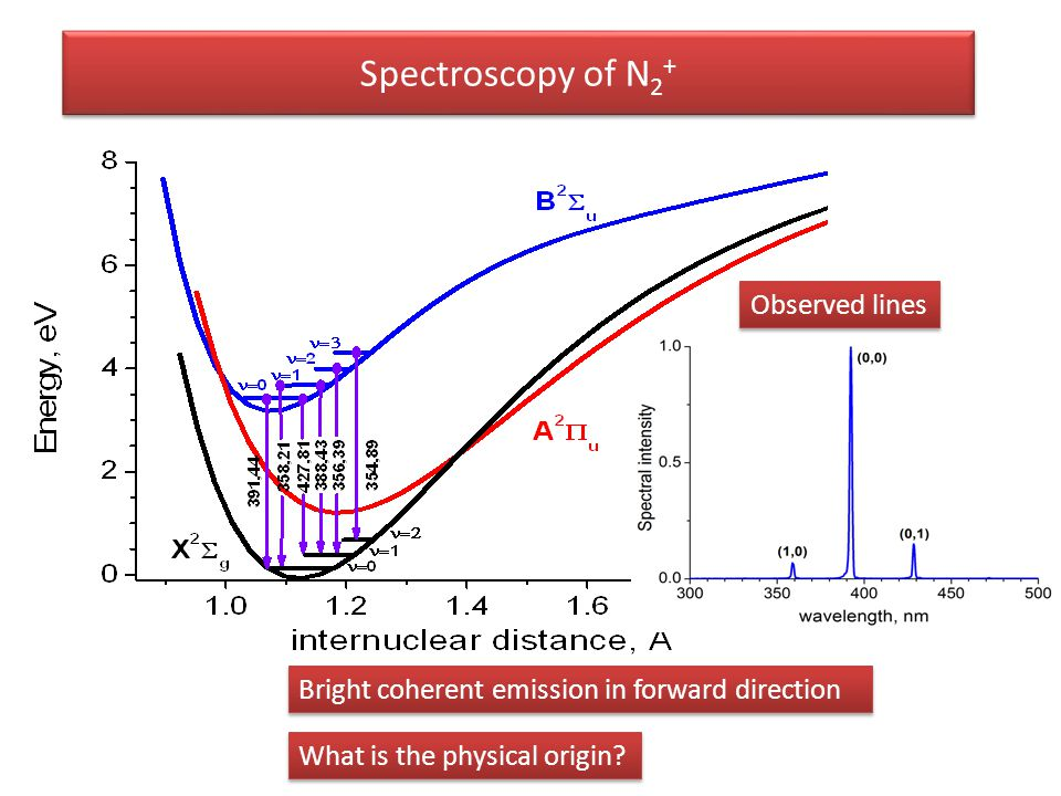 Spectroscopy of N 2 + What is the physical origin? Bright coherent emission in forward direction Observed lines