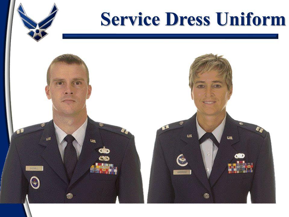 Service Dress Uniform Silver nametag Ribbons - mandatory Badges - optional
