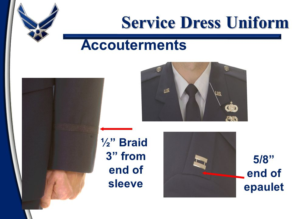 """Service Dress Uniform Accouterments ½"""" Braid 3"""" from end of sleeve 5/8"""" end of epaulet"""
