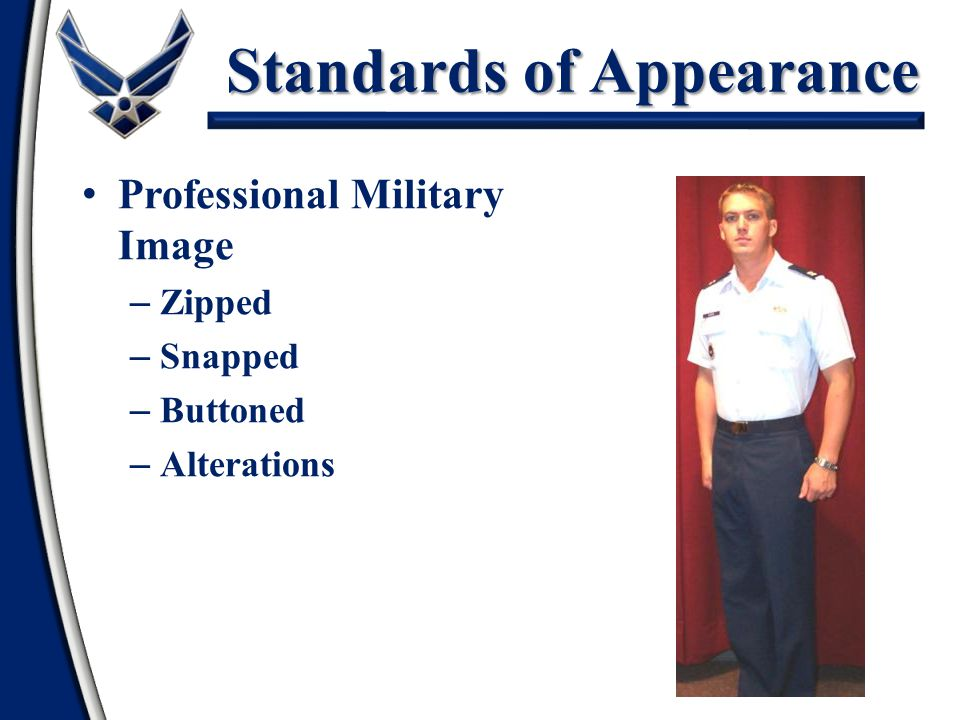 Dress and Appearance Summary Standards of Appearance Personal Grooming Standards for Males Personal Grooming Standards for Females Accessories Airman Battle Uniform USAF PT Uniform