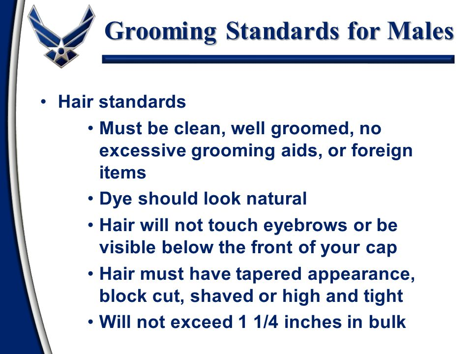 Grooming Standards for Males Hair standards Mustache Sideburns