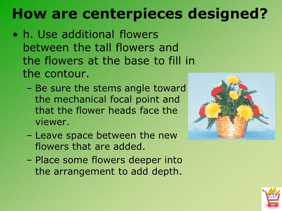 How are centerpieces designed.h.