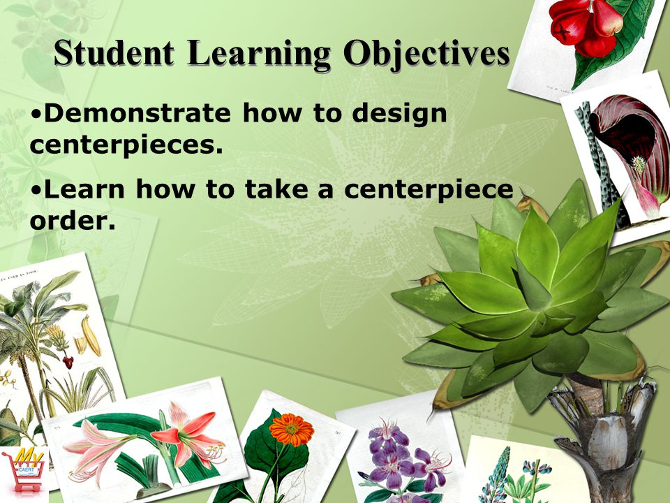 Student Learning Objectives Demonstrate how to design centerpieces.