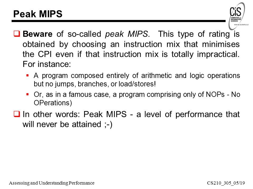 Assessing and Understanding Performance Peak MIPS  Beware of so-called peak MIPS.