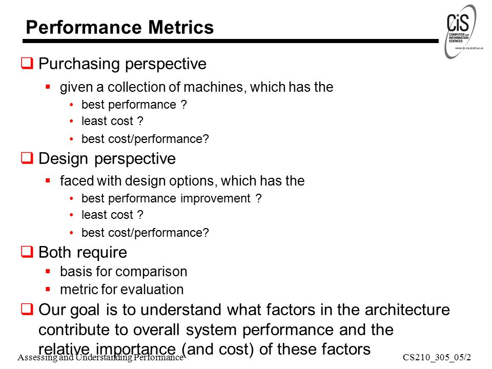 Assessing and Understanding Performance  Purchasing perspective  given a collection of machines, which has the best performance .