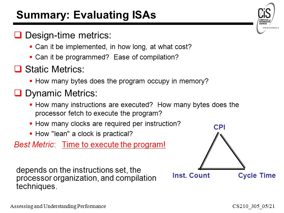Assessing and Understanding Performance Summary: Evaluating ISAs  Design-time metrics:  Can it be implemented, in how long, at what cost.
