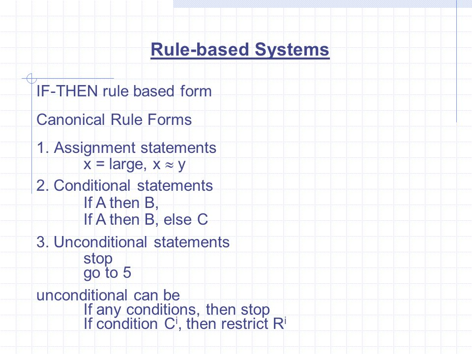 Rule-based Systems IF-THEN rule based form Canonical Rule Forms 1.Assignment statements x = large, x  y 2.