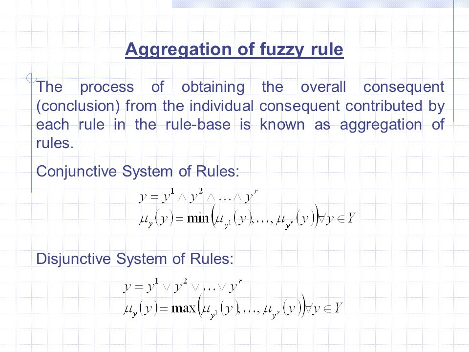 Aggregation of fuzzy rule The process of obtaining the overall consequent (conclusion) from the individual consequent contributed by each rule in the rule-base is known as aggregation of rules.