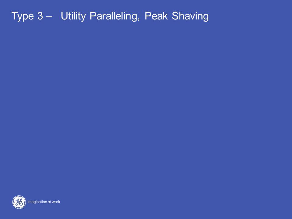 Type 3 – Utility Paralleling, Peak Shaving