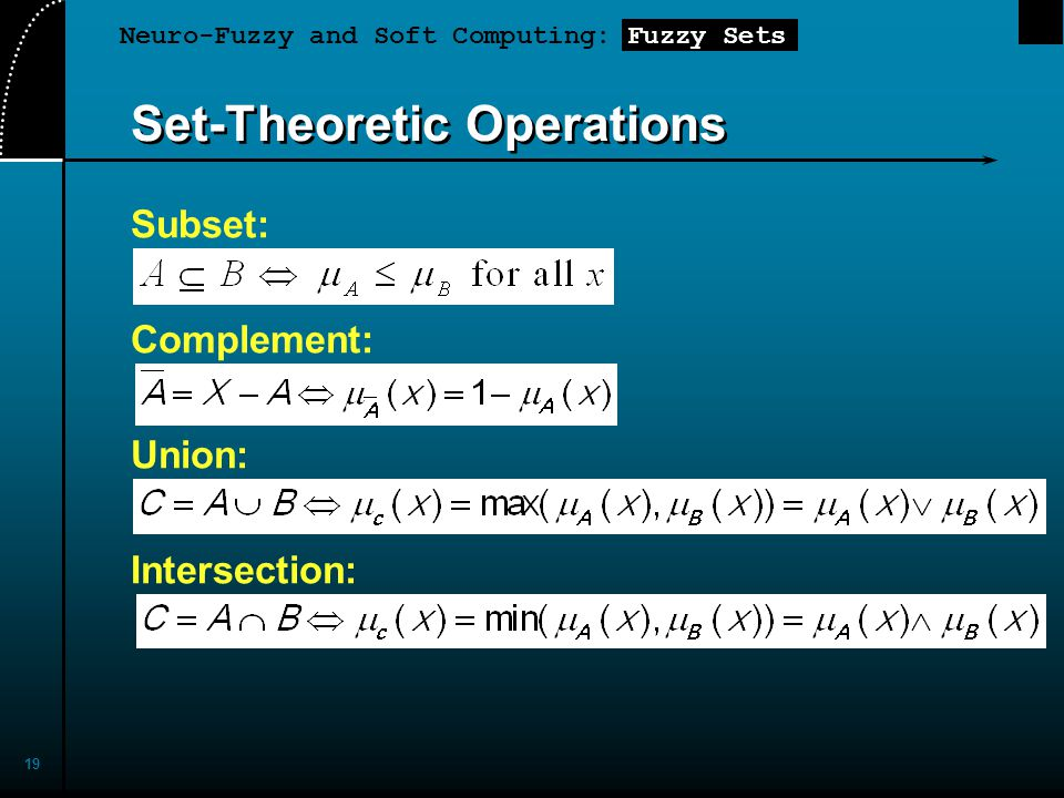 Neuro-Fuzzy and Soft Computing: Fuzzy Sets 19 Set-Theoretic Operations Subset: Complement: Union: Intersection: