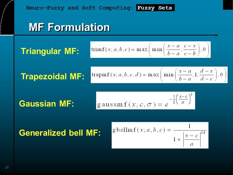 Neuro-Fuzzy and Soft Computing: Fuzzy Sets 21 MF Formulation Triangular MF: Trapezoidal MF: Generalized bell MF: Gaussian MF: