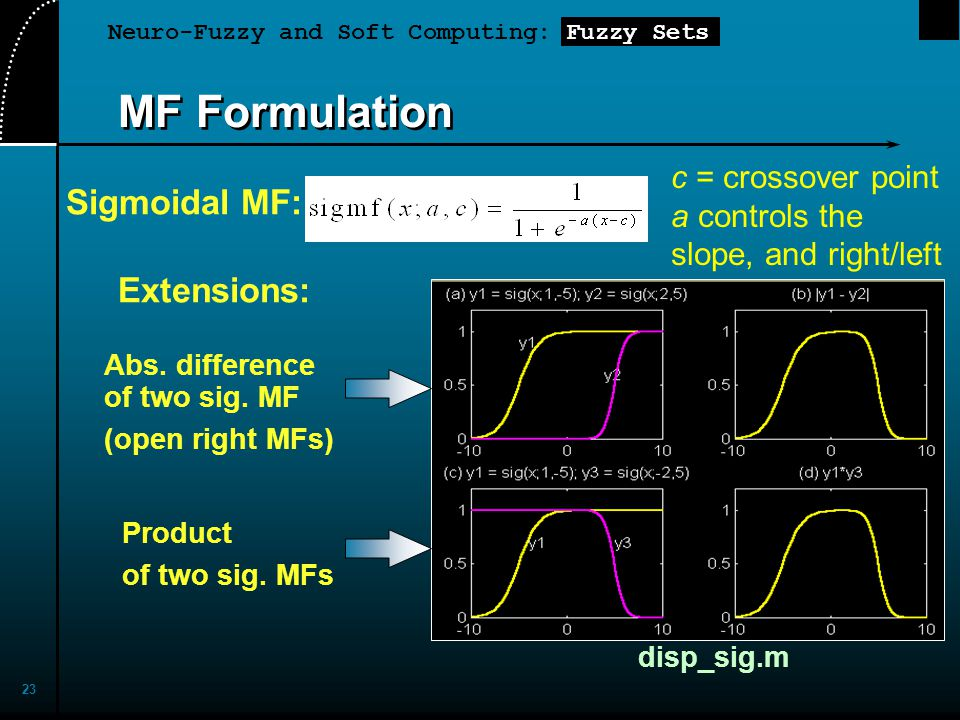 Neuro-Fuzzy and Soft Computing: Fuzzy Sets 23 MF Formulation Sigmoidal MF: Extensions: Abs. difference of two sig. MF (open right MFs) Product of two