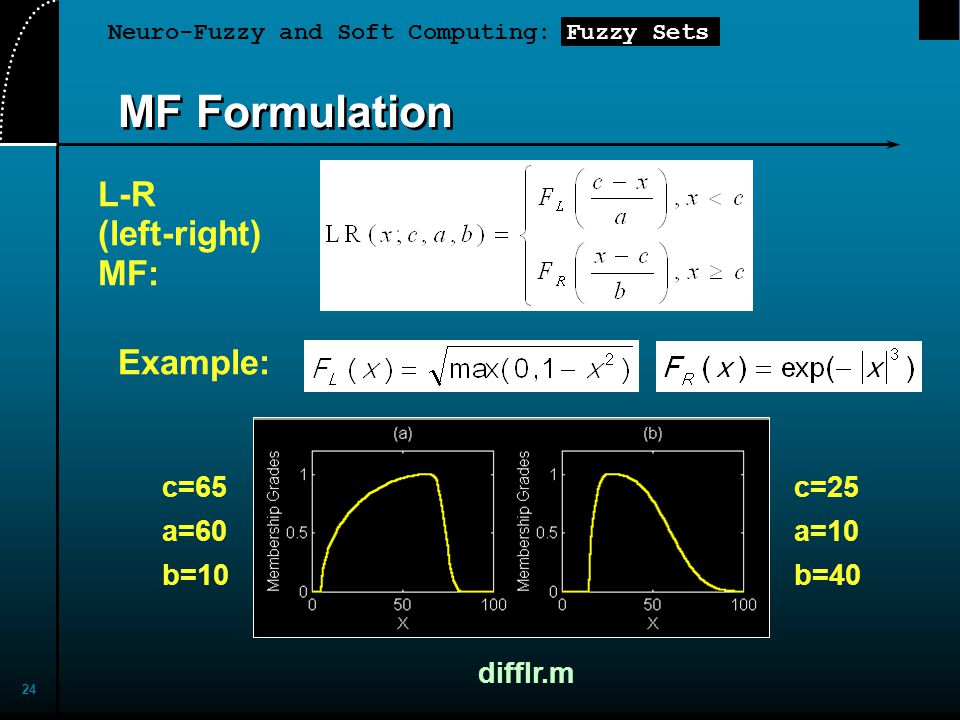 Neuro-Fuzzy and Soft Computing: Fuzzy Sets 24 MF Formulation L-R (left-right) MF: Example: difflr.m c=65 a=60 b=10 c=25 a=10 b=40