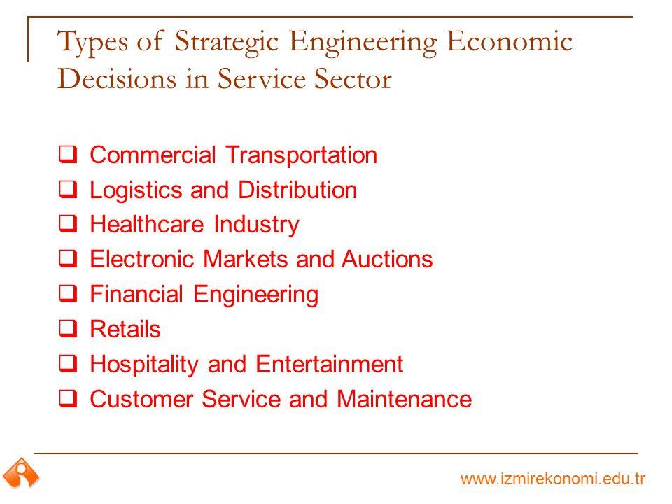 www.izmirekonomi.edu.tr Types of Strategic Engineering Economic Decisions in Service Sector  Commercial Transportation  Logistics and Distribution 