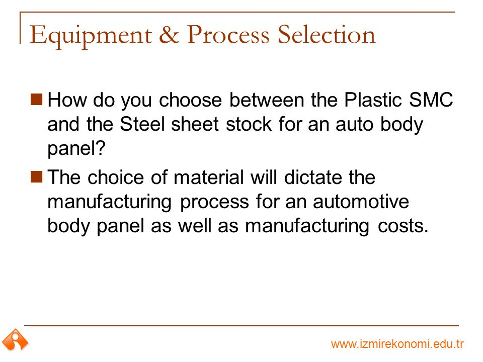 www.izmirekonomi.edu.tr Equipment & Process Selection How do you choose between the Plastic SMC and the Steel sheet stock for an auto body panel? The