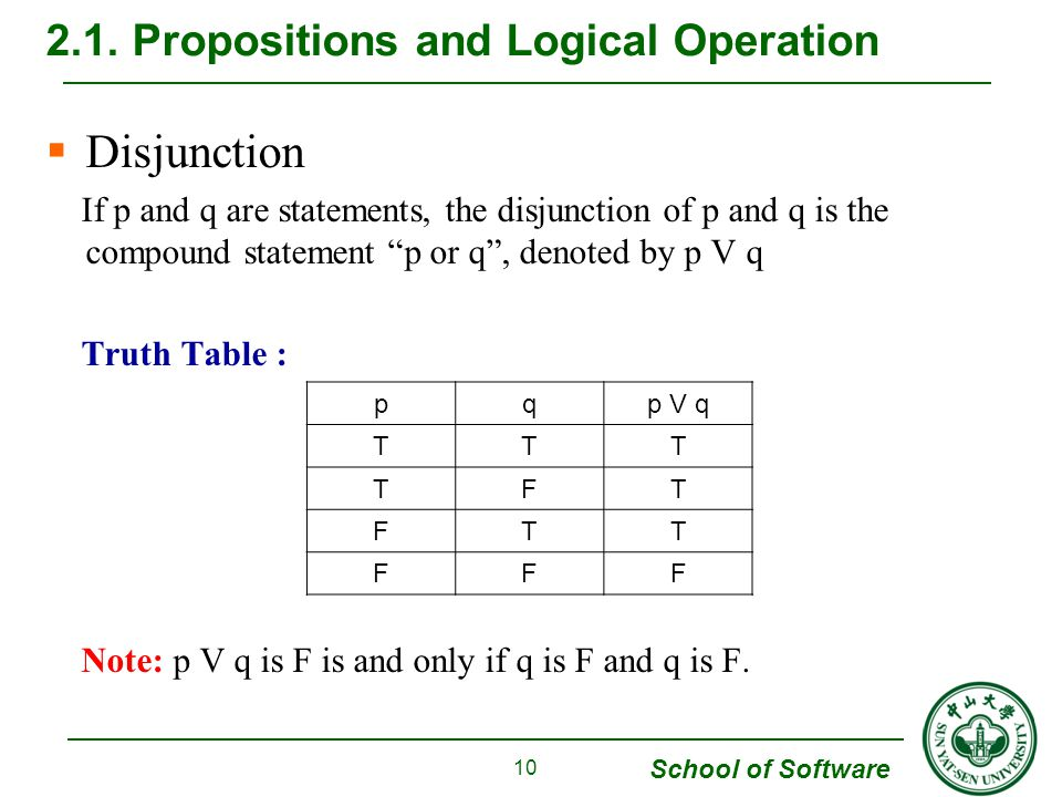 School of Software  Disjunction If p and q are statements, the disjunction of p and q is the compound statement p or q , denoted by p V q Truth Table : Note: p V q is F is and only if q is F and q is F.