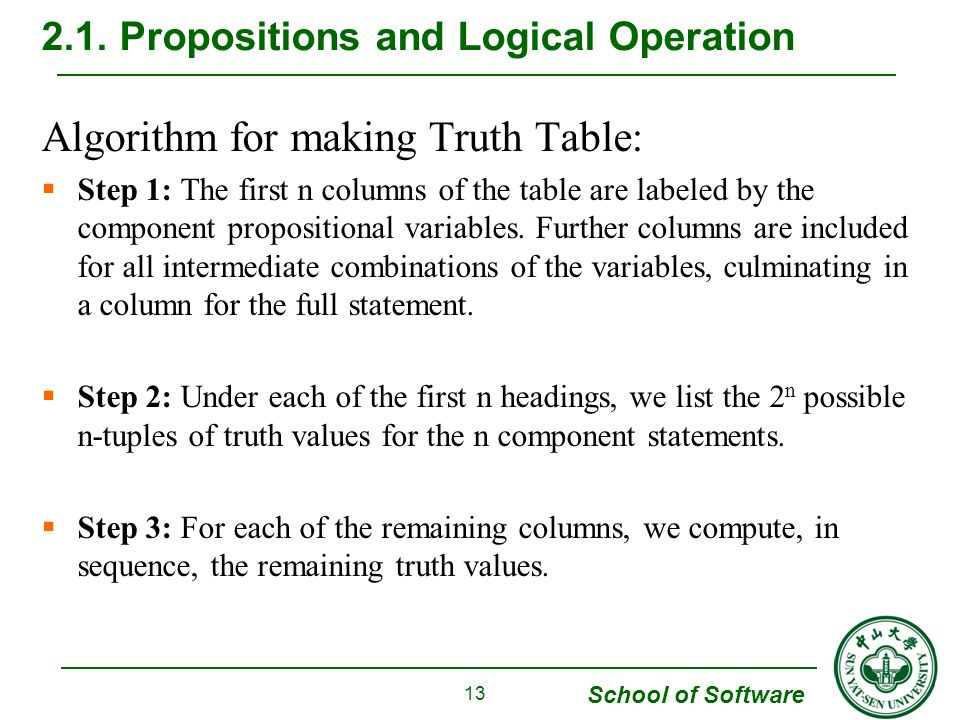 School of Software Algorithm for making Truth Table:  Step 1: The first n columns of the table are labeled by the component propositional variables.