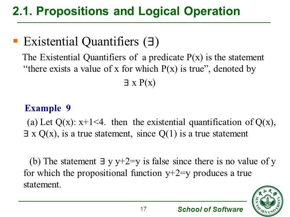 School of Software  Existential Quantifiers ( ∃ ) The Existential Quantifiers of a predicate P(x) is the statement there exists a value of x for which P(x) is true , denoted by ∃ x P(x) Example 9 (a) Let Q(x): x+1<4.