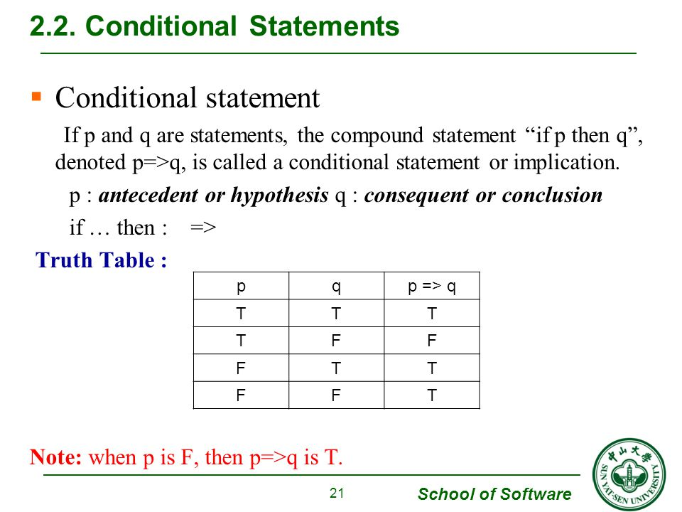 School of Software  Conditional statement If p and q are statements, the compound statement if p then q , denoted p=>q, is called a conditional statement or implication.